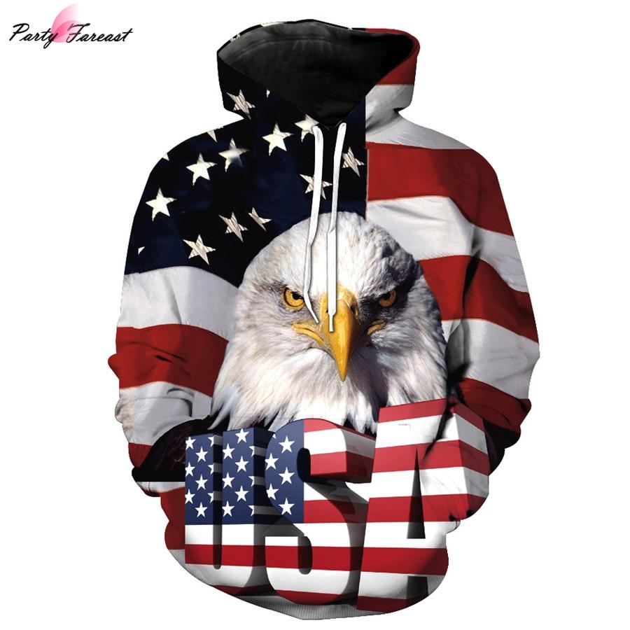 Partyfareast USA Flag Print 3d Sweatshirt With Hat Men Women Autumn Winter Thin Long Sleeved Hooded Hoodies Pullovers Tops Hoody