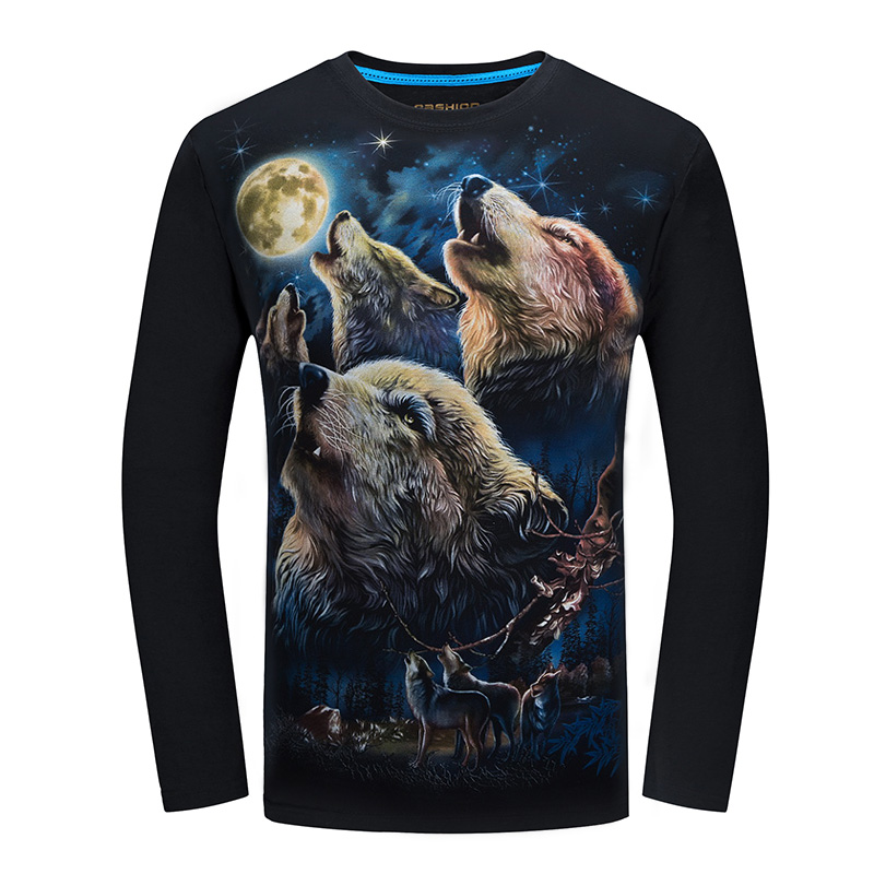 Womens/Mens Funny 3D T-shirt Print Fashion Long Sleeve Tee Tops Graphic S-6XL Hot Sale O-Neck New Arrival Coyote BJZG1098
