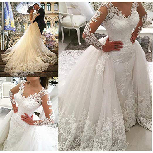 07f1484a0 BRITNRY Beautiful V Neck Long Sleeve Lace Appliques Mermaid Plus Size  Wedding Dress With Detachable Skirt