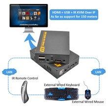 2020 najlepszy 500ft 20 ~ 60 KHz IR USB przez TCP IP KVM Extender 1080P USB HDMI KVM IR Extender 150m przez RJ45 Cat5e Cat6 Cat7 kabel