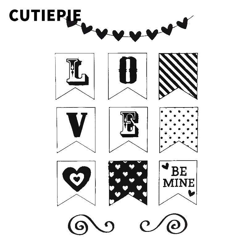 Love Be Mine Flags Transparent Clear Rubber Stamps for Scrapbooking Silicone Photo Album Embossing Folder Making Decor Templates in Stamps from Home Garden