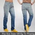 6 Extra Grande calças de Brim Novas Mulheres Plus Size 100Kg Para Vestir Elasticidade Jeans Cintura solta Jeans Reta de Algodão Especial vendas