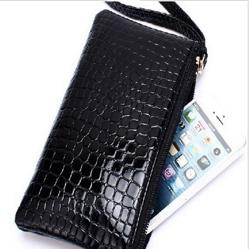 2018 fashion crocodile women wallet long solid zipper coin wallets purse card holder new small lady bag for cellphone money