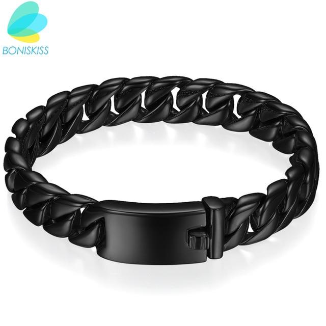 Boniskiss Men Bracelet Black Gold Color Thick Stainless Steel Link Chain Boys Fashion