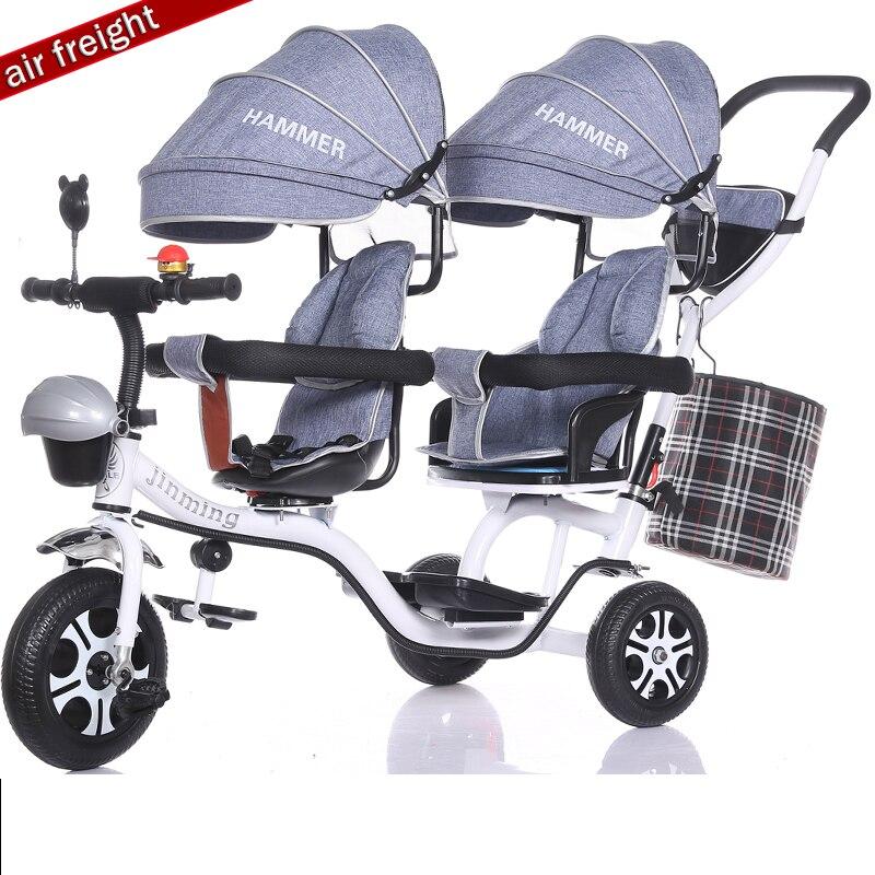 Jumeaux enfants tricycle bébé double bébé poussette vélo deux enfants bébé poussette 6 mois à 7 ans appliquer