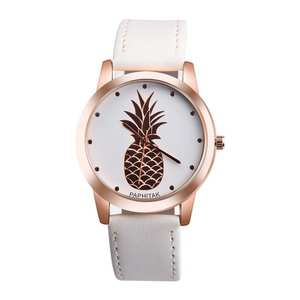 Womens Men Pineapple Faux Leather Analog Quartz Watch Dropshipping Delicate Faux lady dress watch, women's Casual Felogio 5Z