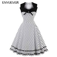 Enyuever Polka Dot Dress Plus Size 2018 Summer Casual Patchwork Vestidos Pin Up Vintage Rockabilly Dress