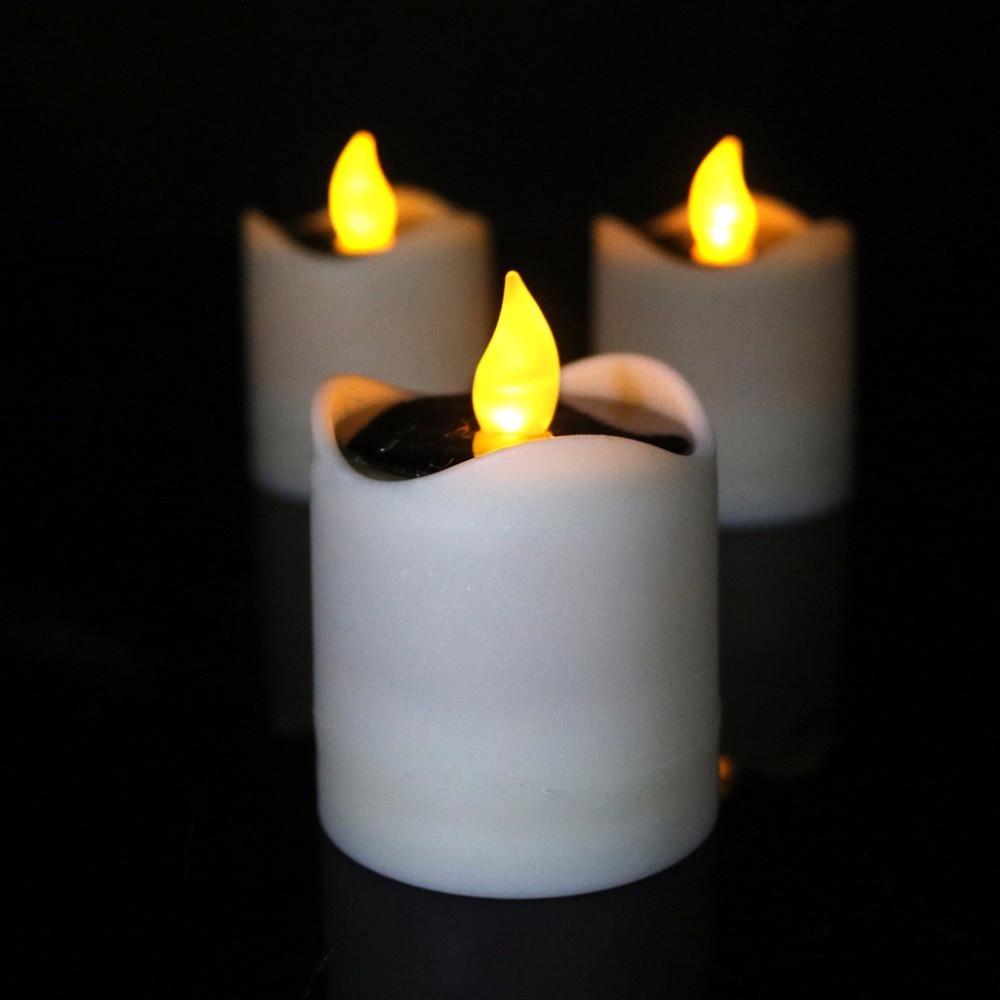 Solar Powered LED Candle Light Yellow Flicker Tea Lamp Festival Wedding Romantic Decor No Smoke, No Flame, No Self - Heating