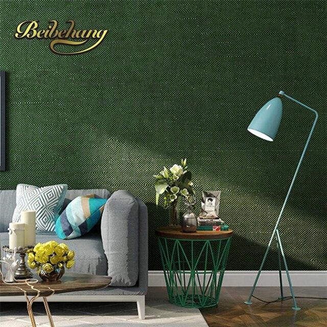 Beibehang Moderne eenvoudige effen groen groen paars behang ...