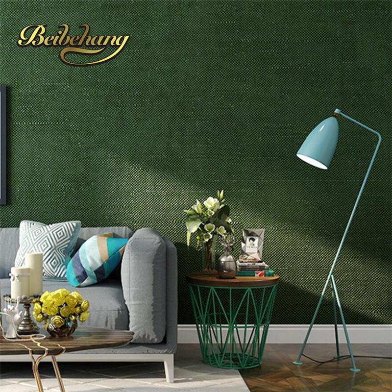 Beibehang Modern Simple Plain Green Green Purple Wallpaper Bedroom Living  Room Non   Woven TV Background