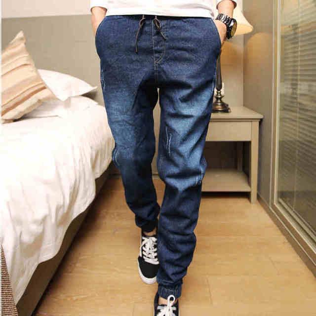 dcaeaf8d3e267f Mens Denim Jeans Men Drawstring Slim Fit Denim Joggers Mens Joggers Jeans  Stretch Elastic Jean Pencil