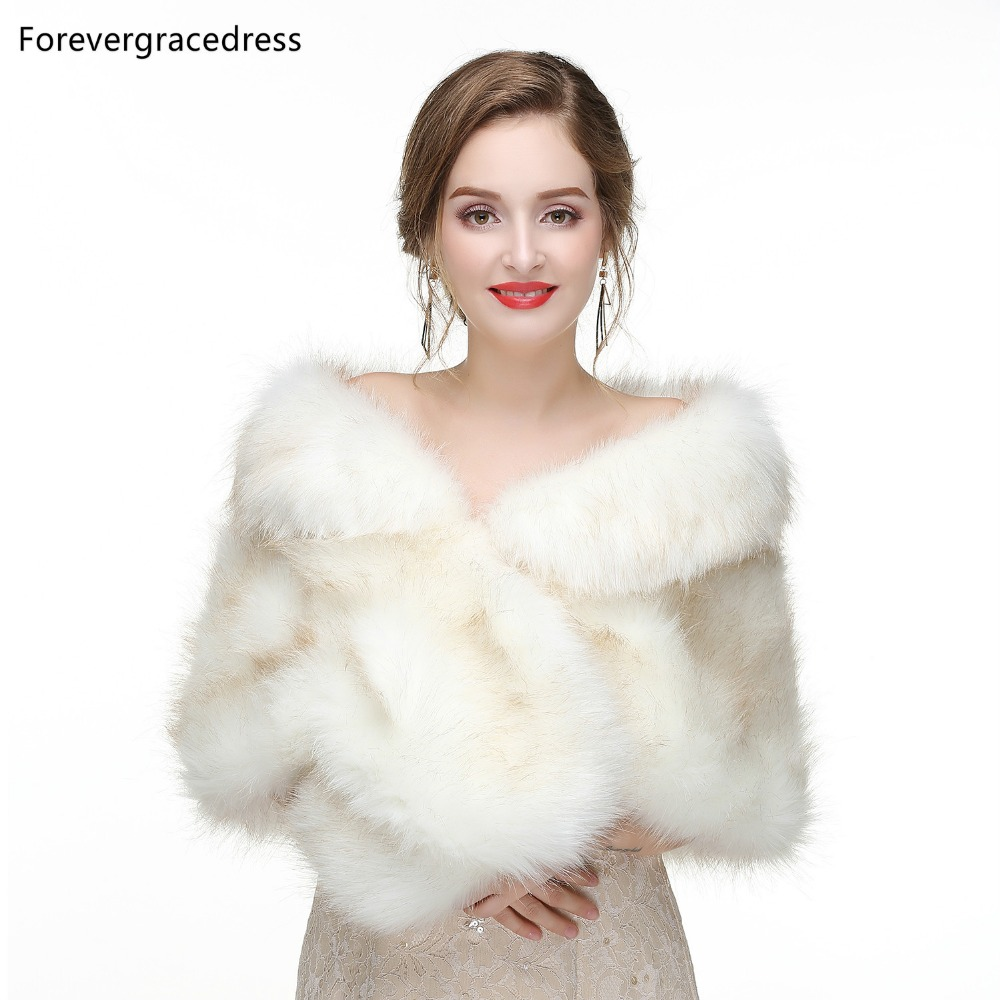 Forevergracedress 2019 Elegant Soft Autumn Winter Faux Fur Bride Wedding Wraps Bolero Jackets Bridal Coats Shawls Scarves PJ441