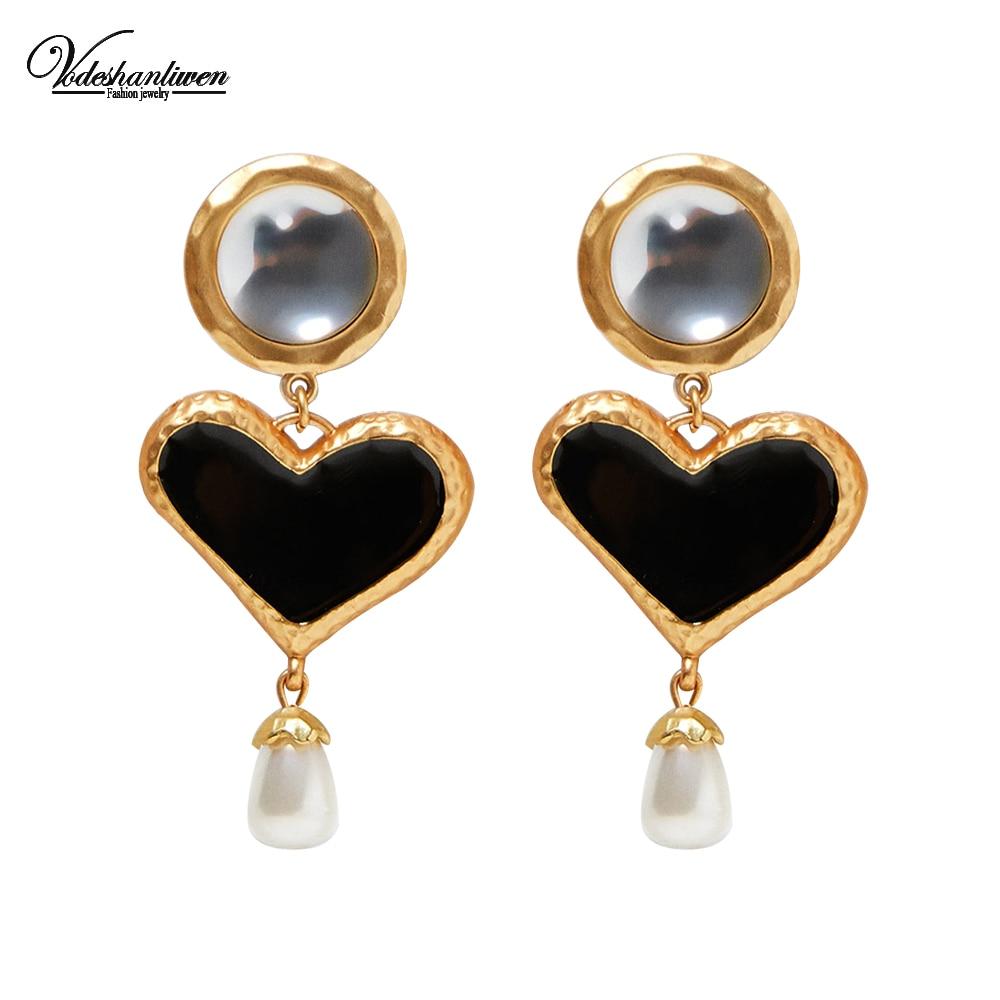Vodeshanliwen ZA Heart Enamel Dangle Earrings For Women New Design Simulated Pearl Drop Earrings Vintage Jewelry Wholesale