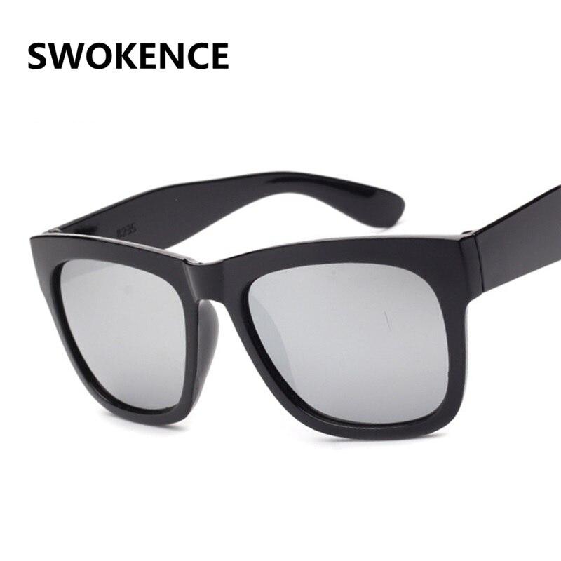 a2071e7cbc SWOKENCE Classic Design Mercury Reflective Sunglasses Women Men Fashion  Black Square Frame Open Air Driving Shopping Shades SA10-in Sunglasses from  Apparel ...
