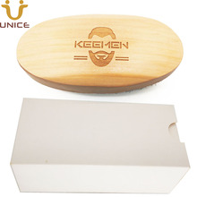 50 pcs/lot Private Label Your LOGO Customized Wood Beard Brush with White Gift Box Boar Bristle Wooden  Imprint