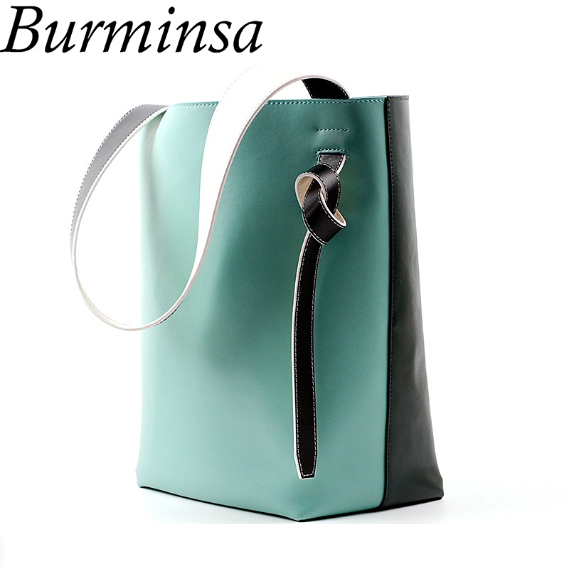 цена Burminsa Large Bucket Genuine Leather Bags Designer Handbags High Quality Ladies Tote Shopping Bags Shoulder Bags For Women 2018
