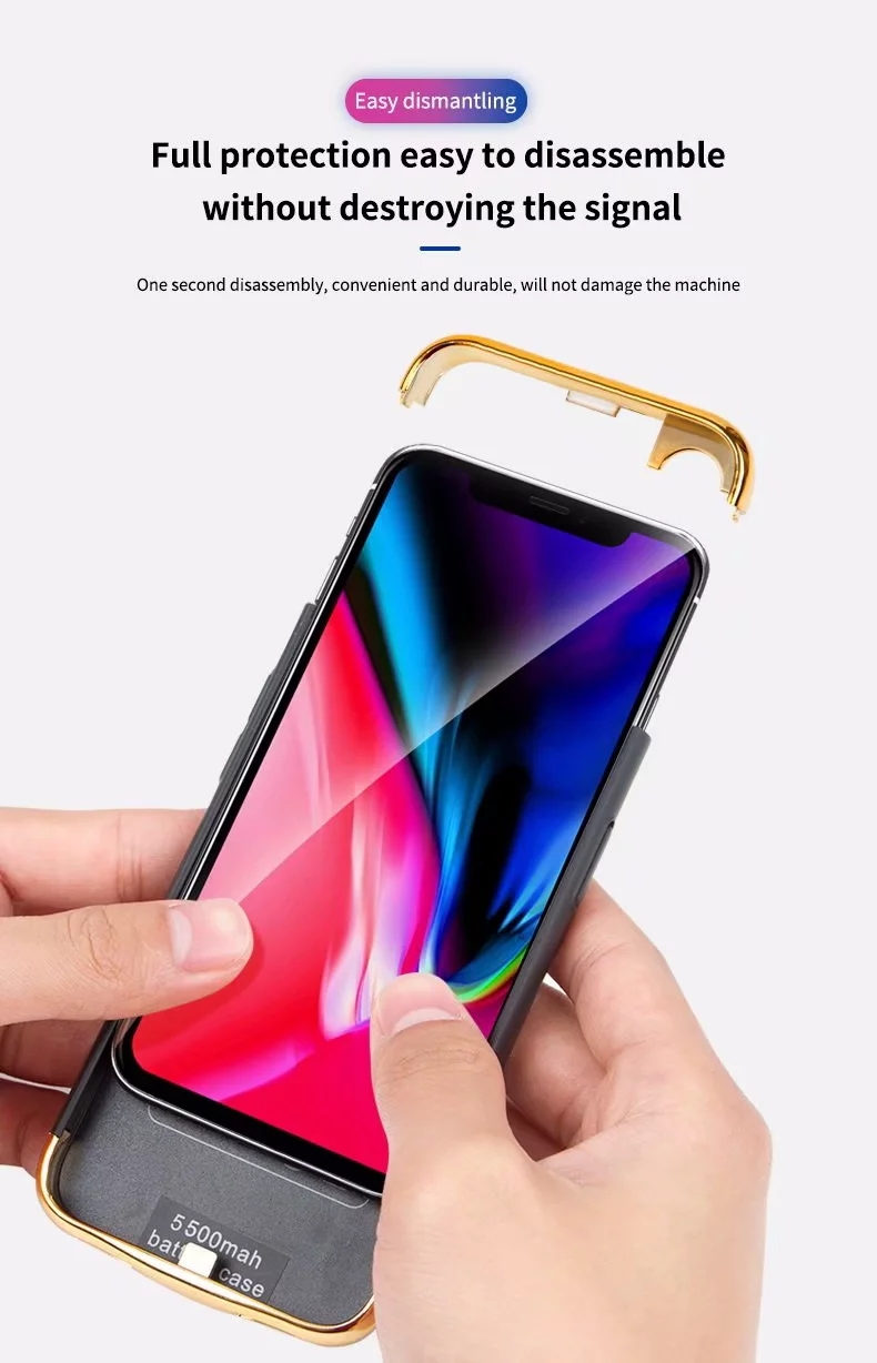 Image 2 - Slim Plating shockproof Battery Charger Case For iPhone XR XS Max Rechargeable Power Bank For iPhone X XS Charging Cover Capa-in Battery Charger Cases from Cellphones & Telecommunications