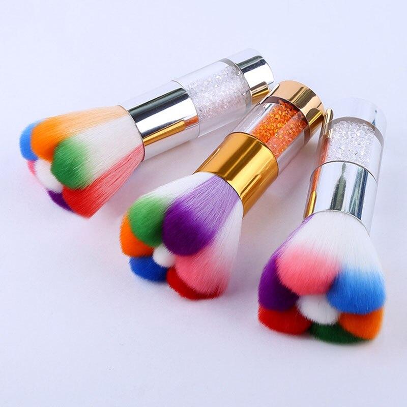 1Pcs Flower Powder Brush Bling Handle Blusher Contour Face Makeup Brushes Dust Cleaning Brush Cosmetics Tool Rainbow Hair Random chunky handle makeup brush 1pcs