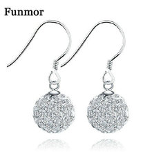 Funmor Fashion Round Ball Crystal Drop Earrings 925 Sterling Silver Fine Jewelry For Women Girls Banquet Party Accessories Gifts