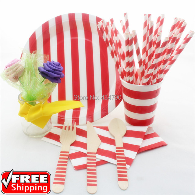 168 pieces/lot Red Stripe Party Tableware Set-New Year Christmas Dinnerware Paper Straws  sc 1 st  AliExpress.com & 168 pieces/lot Red Stripe Party Tableware Set New Year Christmas ...