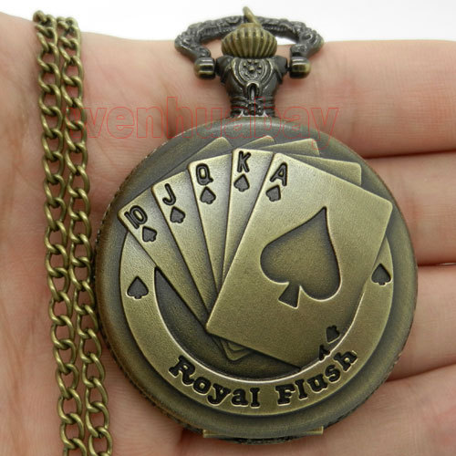 Antique Bronze Royal Flush Poker Cards Pocket Watch Necklace Chain Xmas Gift P80