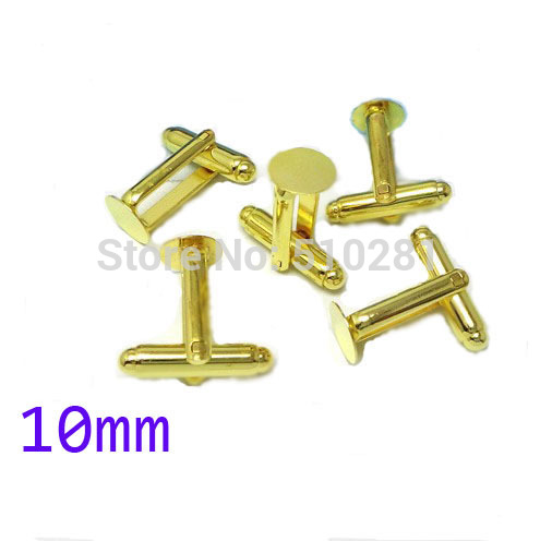 Gold Tone plated French Cuff Links With 10mm Round Flat Blank LK-2997