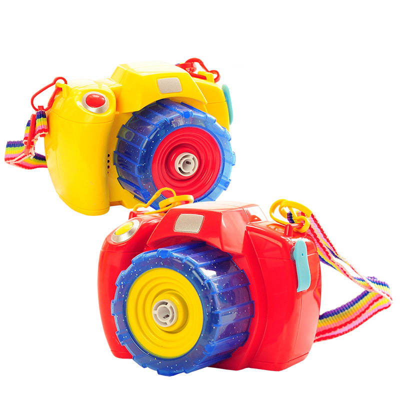Red / yellow fun bubble camera toys, bottle blowing bubbles, light music electric bubble ...