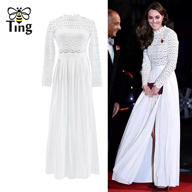 Tingfly Kate Middleton princesse Style printemps été longues robes de soirée en dentelle évider Vintage plissée robe fendue Vestidos SP