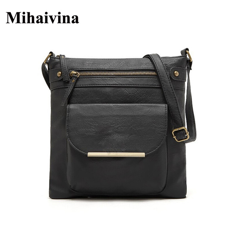 2017 Fashion Women Messenger Shoulder Bag Vintage High Quality Crossbody Bags Casual Solid Zipper Vintage Flap Small Bags Bolosa vintage canvas messenger bag high quality womens crossbody bags bend zipper design casual small flap tote bag