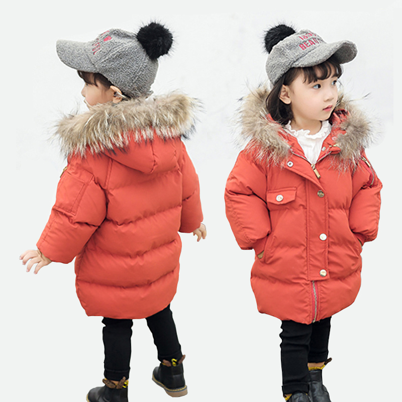 New Baby Girls Winter Jackets Thick Coat Cotton Padded Hooded Jacket for Girls Clothes Children Clothing Fur Collar Coat Parkas 2018 new fashion baby boy s coat middle length baby wool cotton padded jacket faux fur coat children winter clothes