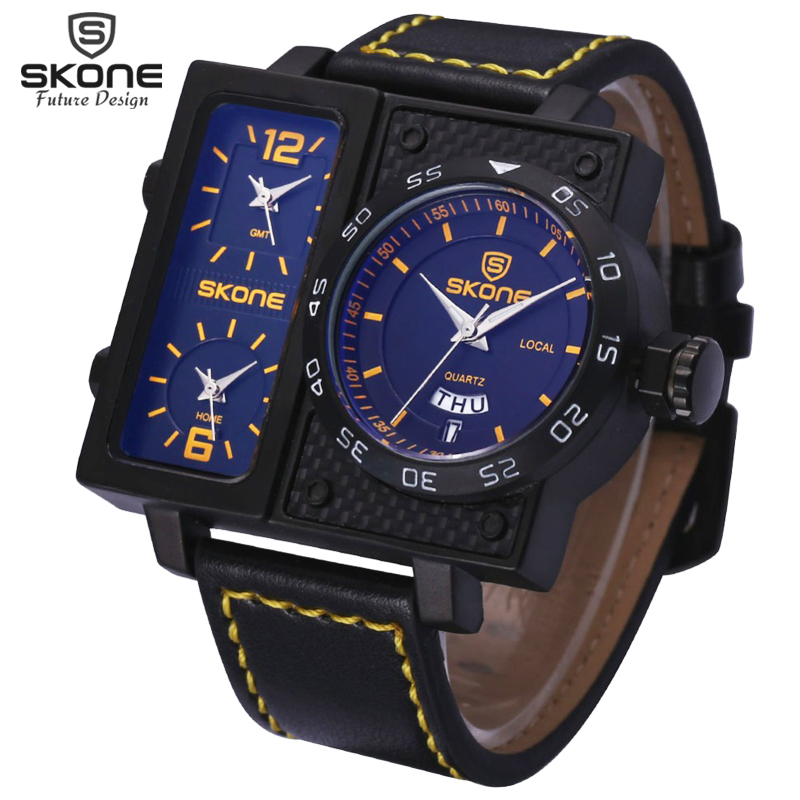 Skone 3 Time Zone Date Week Big Face Square Dial Sport Watches Men Leather Strap Watch Male Boys Fashion Casual Wristwatch 2016