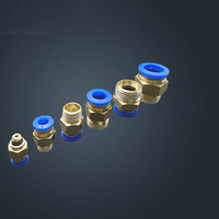 Free shipping HIGH QUALITY 300pcs 10mm to 1/4 Pneumatic Connectors male straight one touch fittings BSPT PC10 02