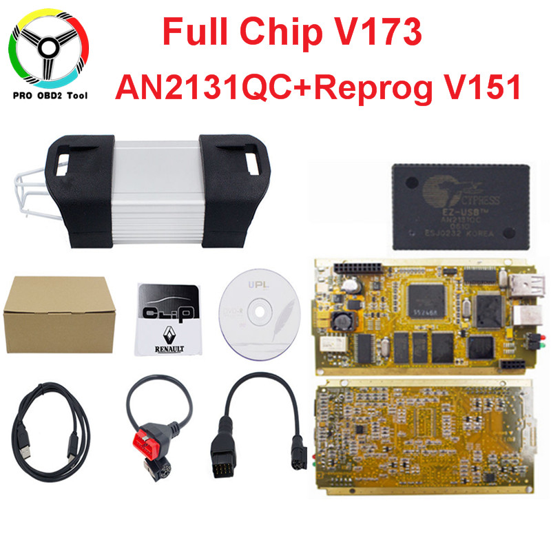 2018 Newly V174 For Renault Can Clip Full Chip CYPRESS AN2131Q+Reprog V151 OBD2 Diagnostic Interface CAN Chip With Gold Side PCB 2018 newest v178 for renault can clip full chip gold cypress an2135sc 2136sc chip nec relay obd2 interface diagnostic scanner