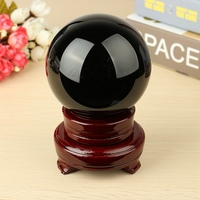 4 Natural Black Obsidian Sphere Large Crystal Ball Healing Stone With Wood Stand For Home Holiday