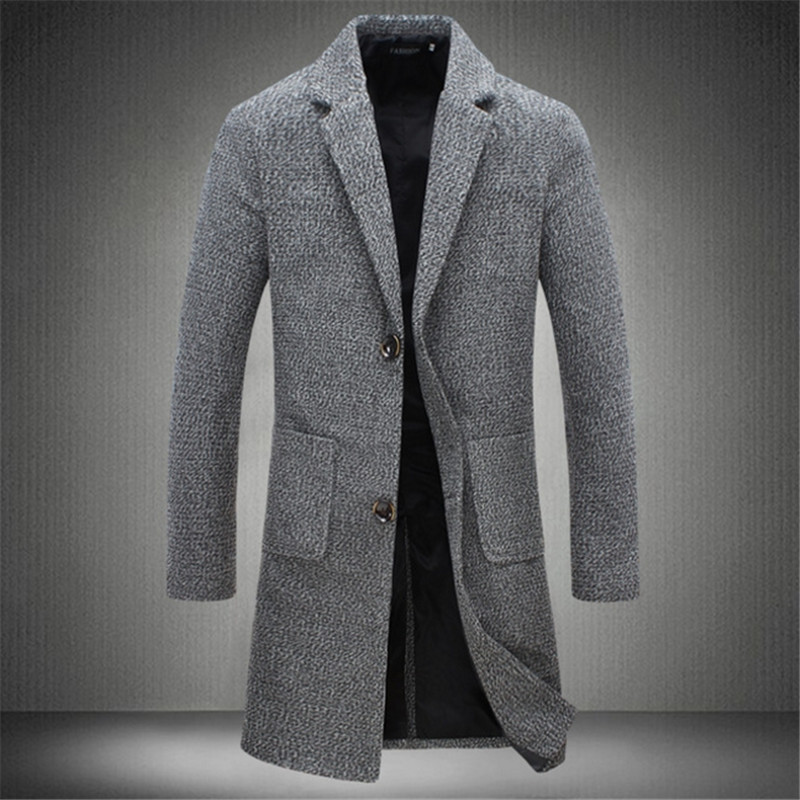 Male High Quality  New Fashion  European And American Style Long Trench Coat Collar Slim Casual Solid Stylish Jacket Trench