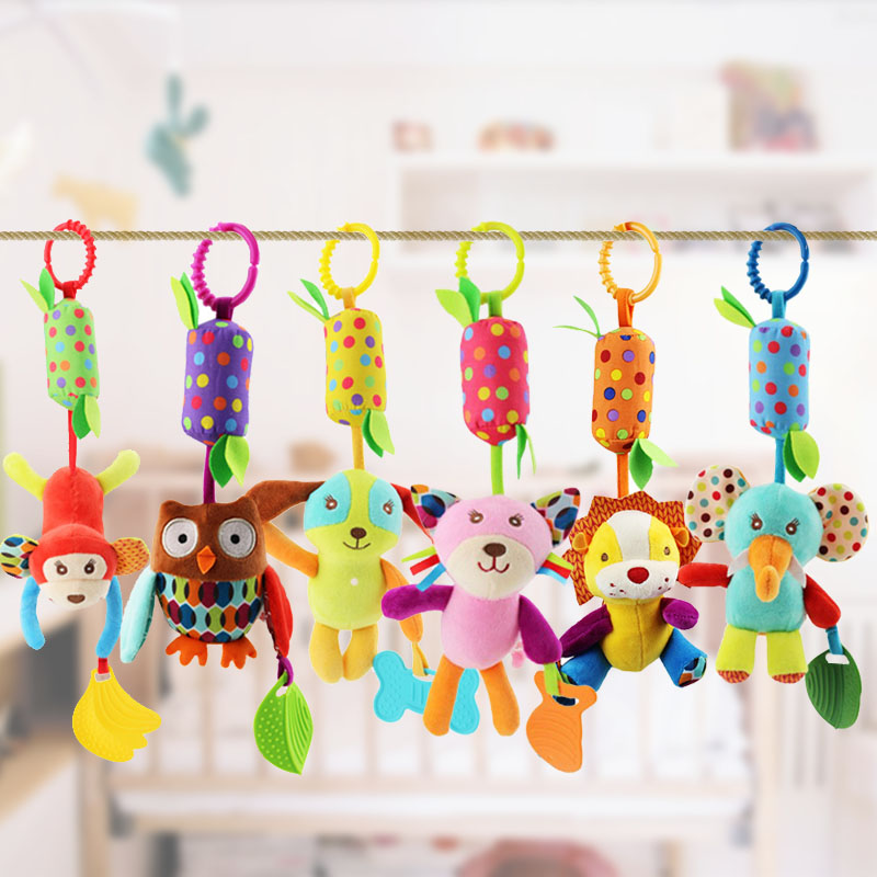 Newborn Baby Rattle Toys Cartoon Animal Plush Hand Bell Baby Stroller Crib Hanging Rattles Infant Baby Toys Gifts
