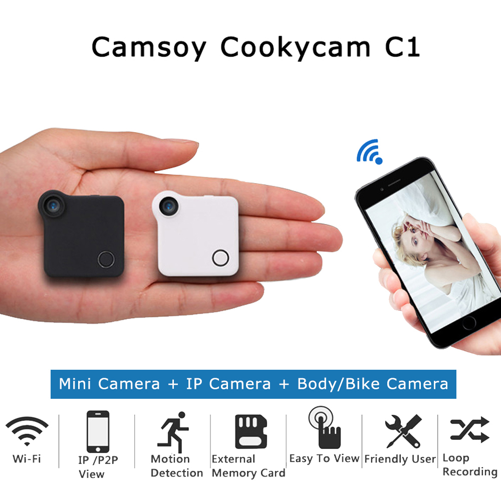 Wearable C1 C1 Mini Câmera HD 720 P P2P WI-FI Câmera IP Sensor de movimento Do Corpo Da Bicicleta Micro Mini DV DVR Clip Magnético Voz gravador