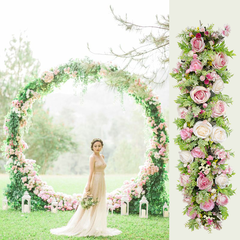 Flone Artificial Silk Green Forest series Plant Grass Rose Wedding Flower Row For Wedding Arch Background Wall Decoration Home