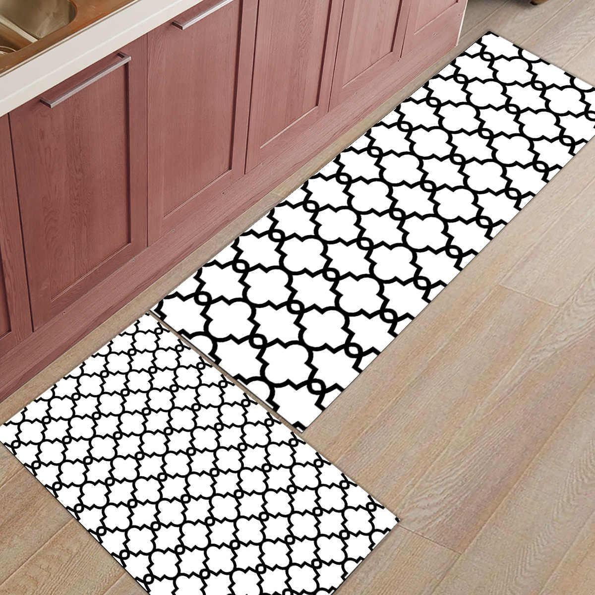 2 ピースキッチンマットやラグセットモダンクラシックモロッコ幾何チェック白ホーム Deocr 非スキッドエリアランナー玄関マットカーペット