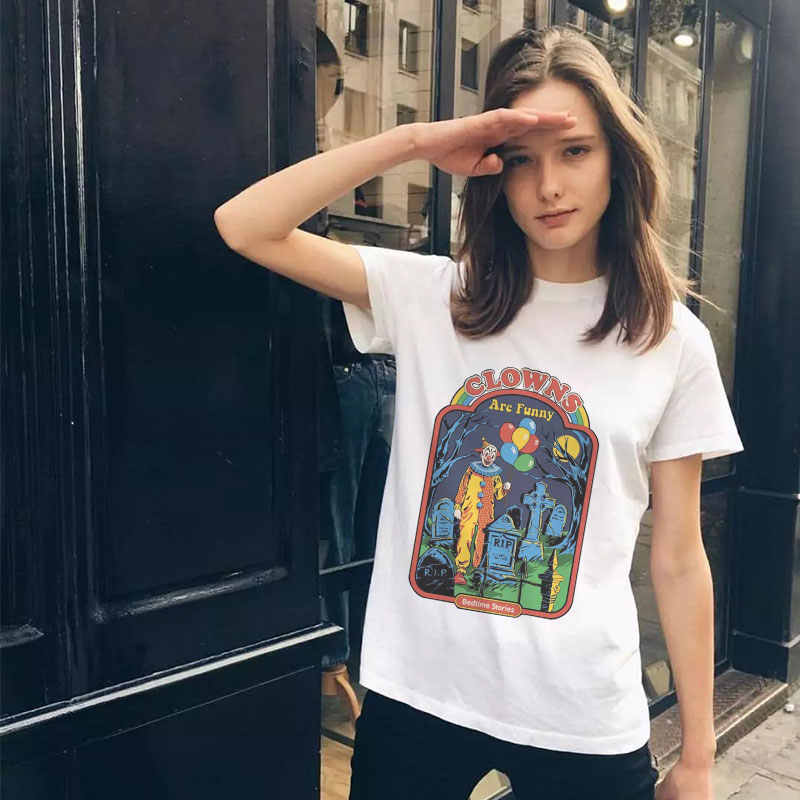 32742916 Summer Streetwear Tumblr Ulzzang Pulp Fiction Aesthetic Tops Grunge Funny  White T Shirt Plus Size Women