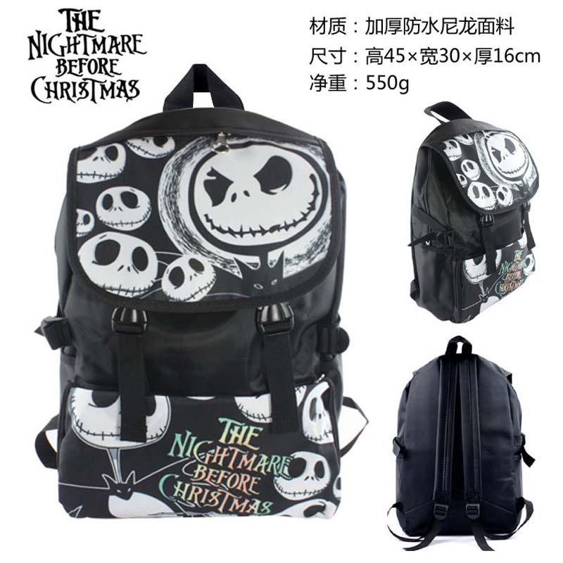 Movie The Nightmare Jack Skellington Before Christmas Waterproof Laptop Monochrome Backpack/Double-Shoulder Bag/School Bag лихачев д пер повесть временных лет