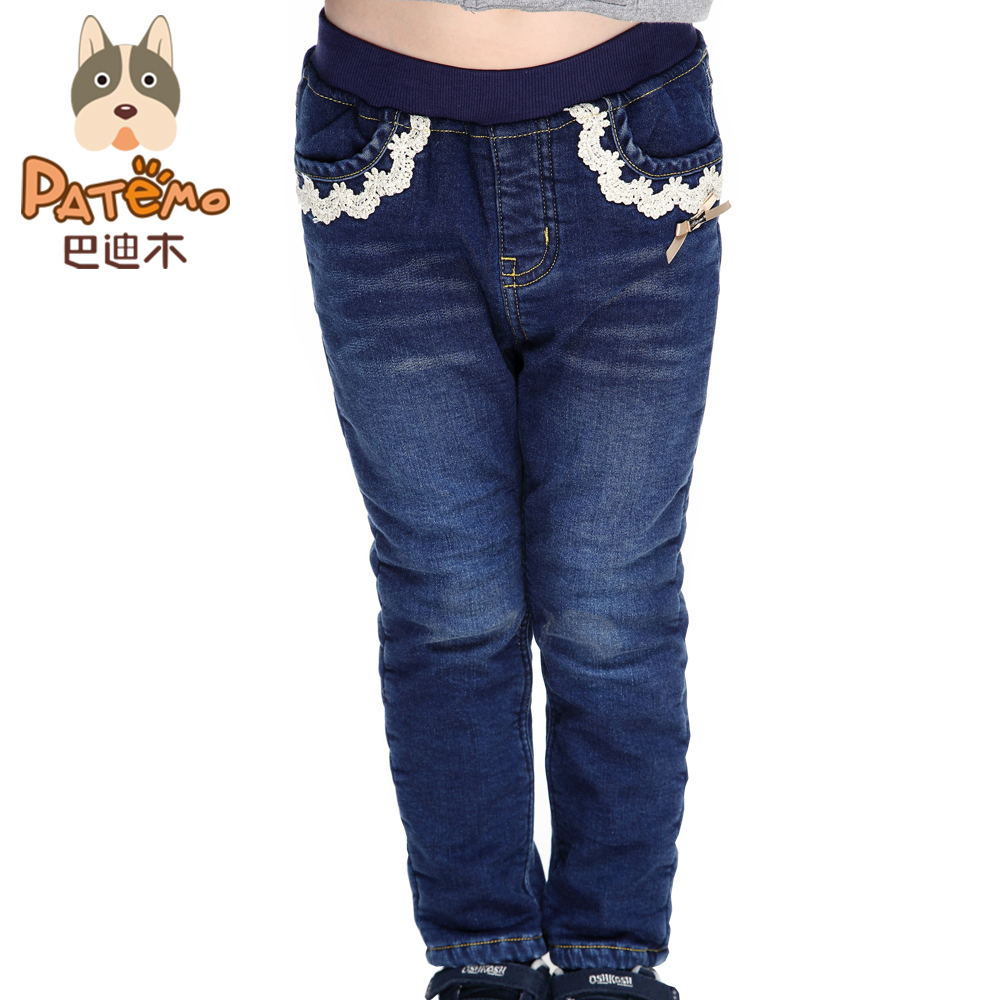 PATEMO Girls Winter Jeans Elastic Waist Thick Jeans for 4T~10T Teenagers Keep Warm Solid Kids Full Length Pants Children Clothes