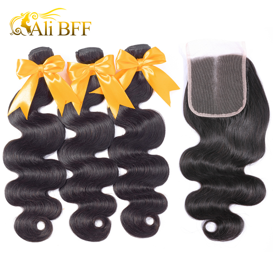 ALI BFF Human Hair Indian Body Wave 3 Bundles Weave With Closure Bundles Deal 4x4 Lace Closure Natural Color Remy Hair Extension