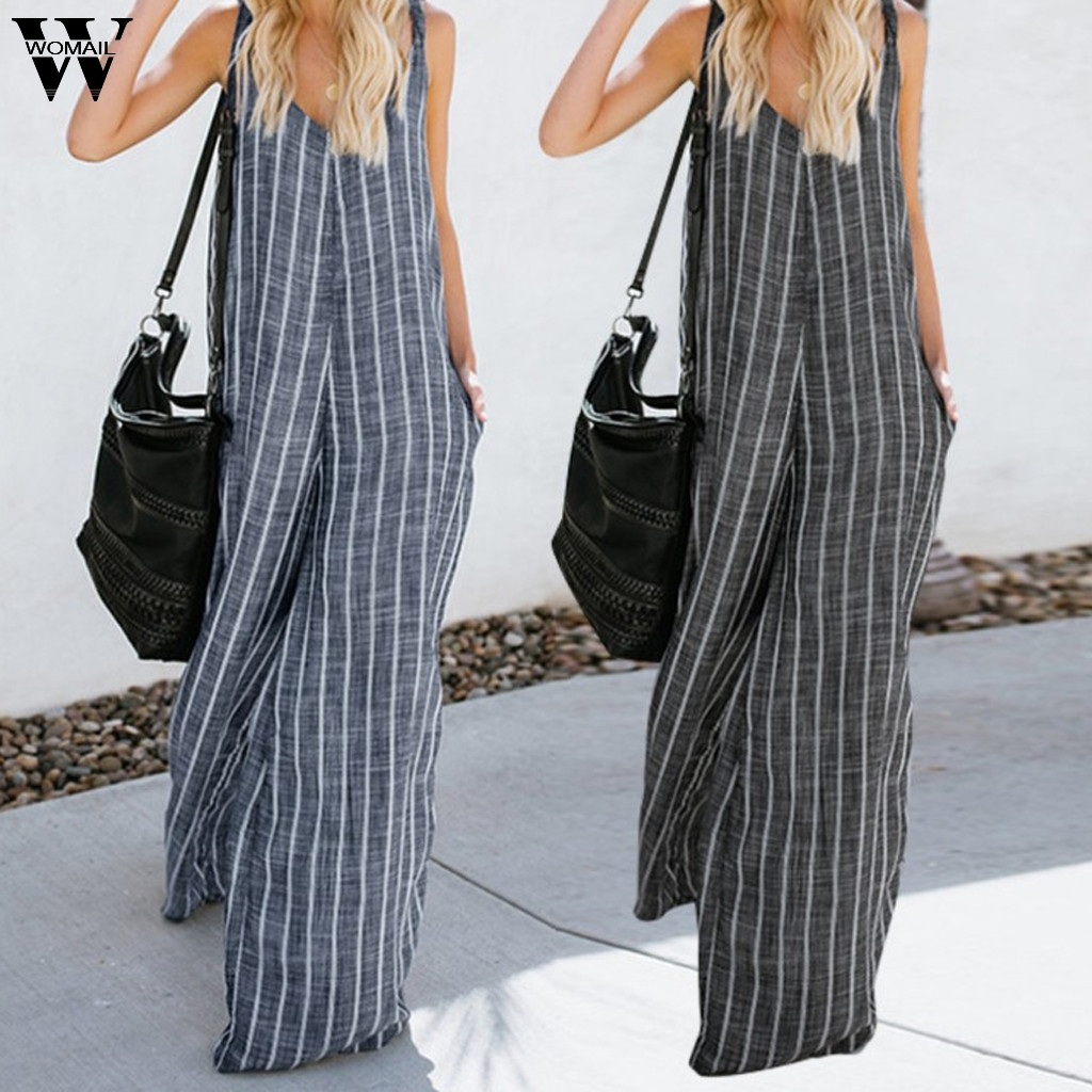 Womail Bodysuit Women Summer Large Size Sleeveless V-Neck Long Jumpsuit Striped Sexy Casual Fashion High Quality 2019 A18