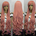 Wavy Long Smoke Pink Fibre Hair Cosplay Costume Synthetic Anime Full Wig