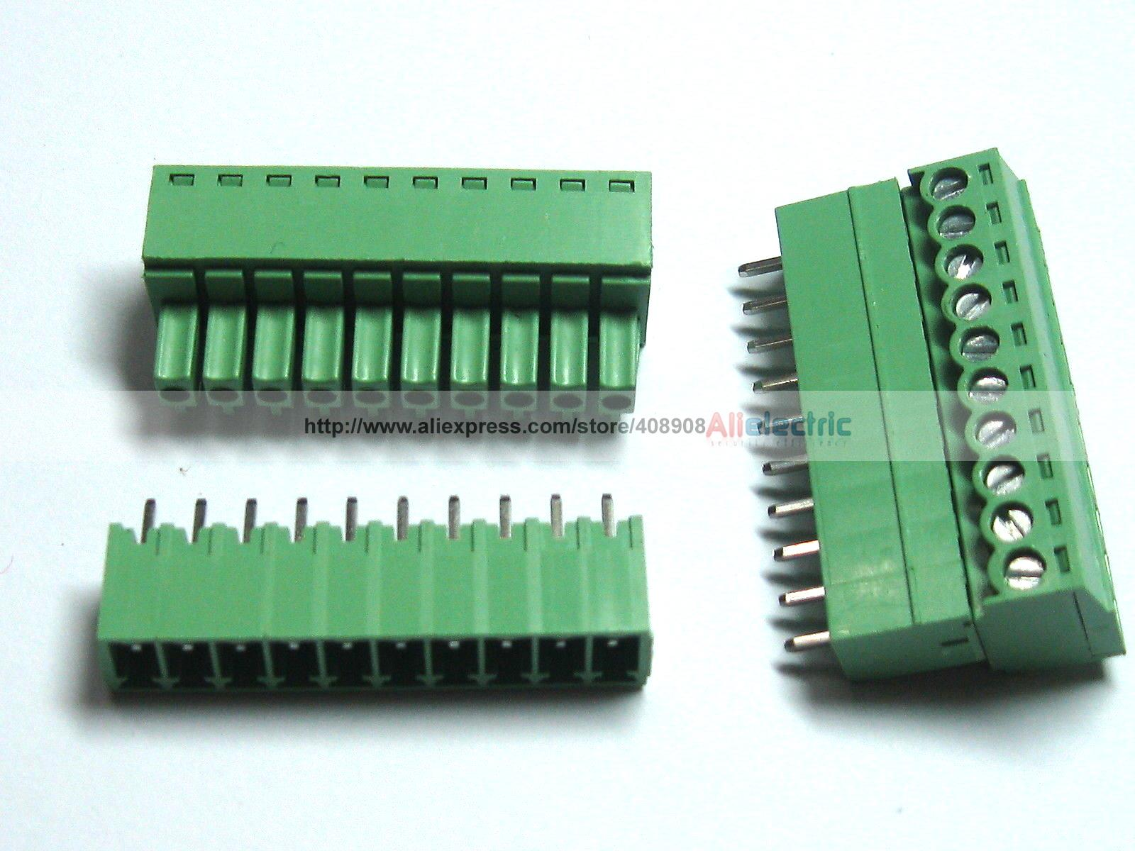 цена на 12 Pcs Screw Terminal Block Connector 3.5mm 10 Pin Way Green Pluggable Type