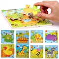 2 pcs Kids Toddlers Educational Toy Gift Cartoon Animals Wooden Jigsaw Puzzles Age 3-7Y