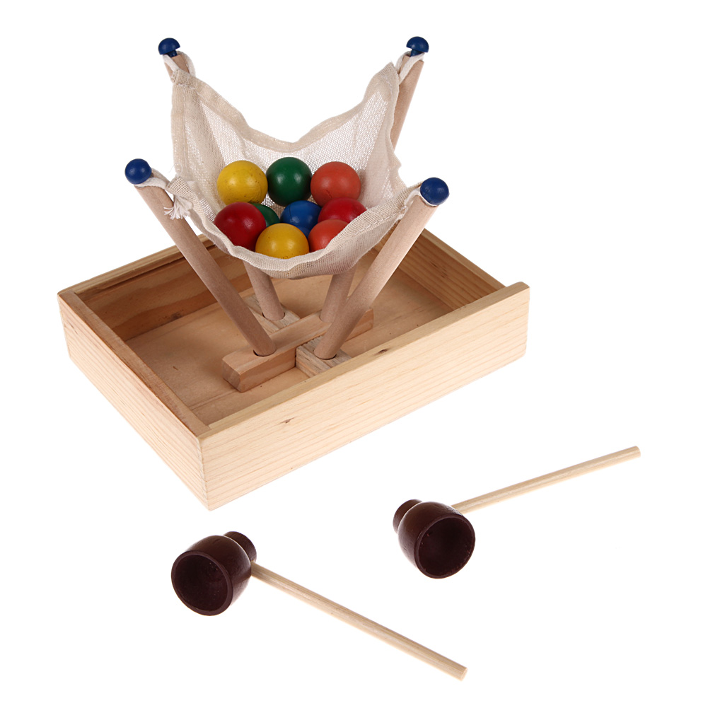 Happy Ball Contest Game Block Toy, Family Interaction Fun Block Board Game, Montessori Wooden Educational Toy for Children funny fishing game family child interactive fun desktop toy