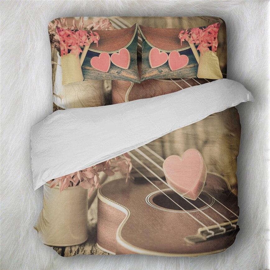 Coeur romantique ensemble de literie violon Piano imprimer housse de couette Note de musique imprimer lit couverture taie d'oreiller dames doux literie D49