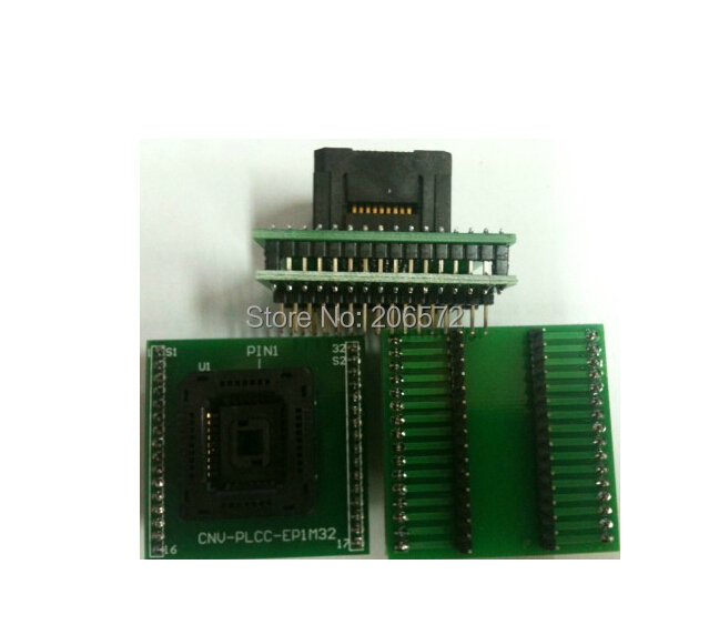 PLCC32 to DIP32 IC test block/adapter/test bench/Burn-in Socket fshh qfn32 to dip32 programmer adapter wson32 udfn32 mlf32 ic test socket size 3 2mmx13 2mm pin pitch 1 27mm